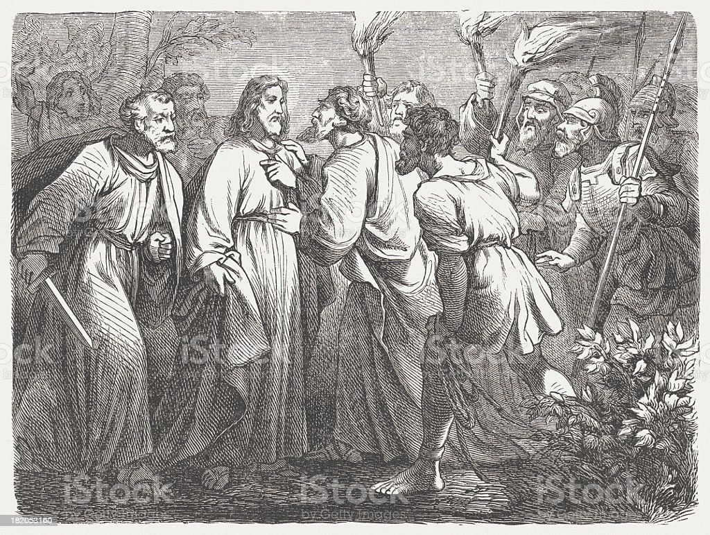 Jesus' arrest (Matthew 26, 47-50), \twood engraving, published in 1877 royalty-free stock vector art