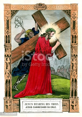 Vintage illustration depicting the second Station of the Cross where Jesus Christ is given  his cross.