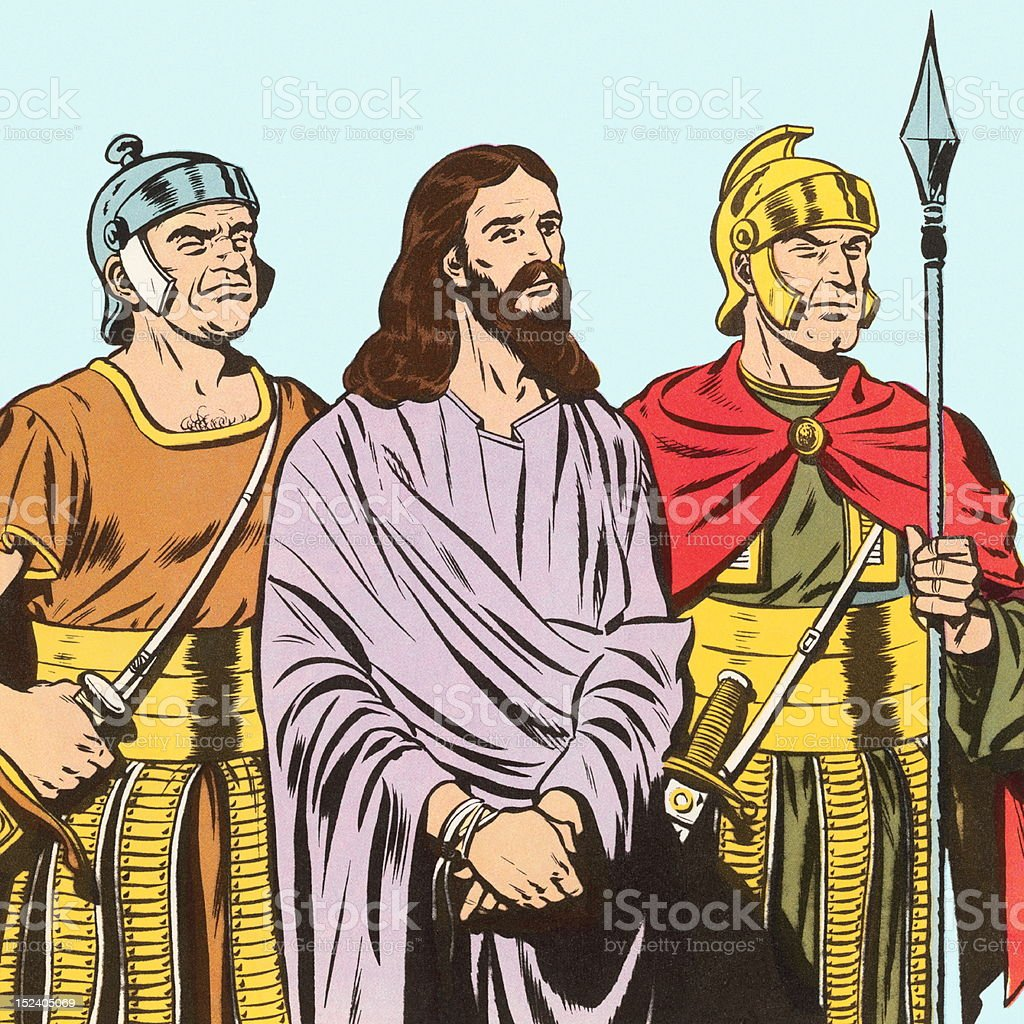 Jesus Being Held By Two Soldiers royalty-free jesus being held by two soldiers stock vector art & more images of adult