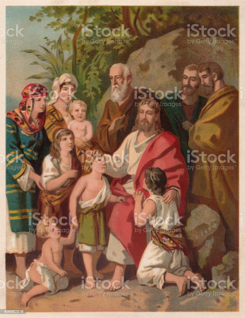 Jesus bless the children (Matthew 19, 13-15), chromolithograph, published 1886 vector art illustration