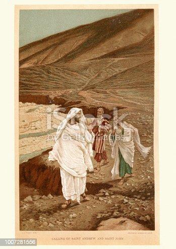 Vintage engraving of Jesus calling Saint Andrew and Sain John. By James Tissot