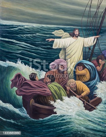 istock Jesus Calms the Storm, original hand painted by oil painting on canvas 1333885860
