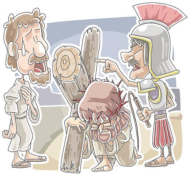 Jesus carried the cross vector art illustration