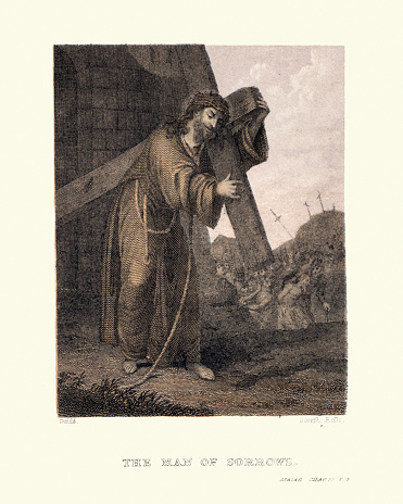 Vintage illustration of Jesus carrying the cross, The man of sorrows, 19th Century colour print