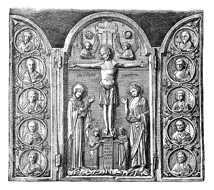 Jesus Christ ,Altar cabinet carved in ivory, triptych, later Byzantine work, possibly 13th century