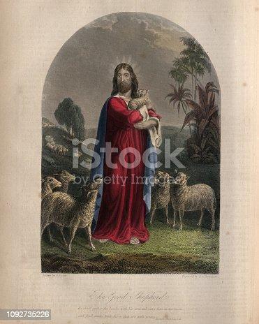 Vintage engraving of Jesus Christ as the Good Shepherd