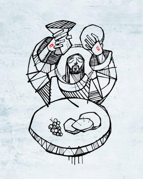 ilustraciones, imágenes clip art, dibujos animados e iconos de stock de jesús cristo en la ilustración de la eucaristía - comunión