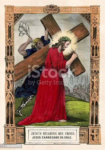 Vintage illustration depicting the second Station of the Cross where Jesus Christ is made to bear his cross.