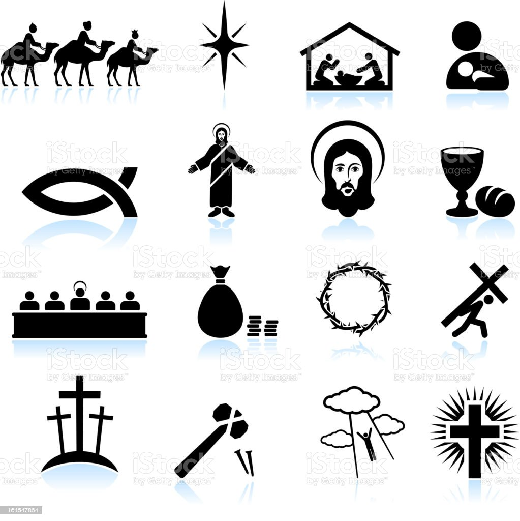 Jesus Christ black and white royalty free vector icon set vector art illustration
