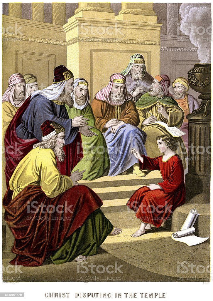 Jesus Christ disputing in the Temple royalty-free jesus christ disputing in the temple stock vector art & more images of antique
