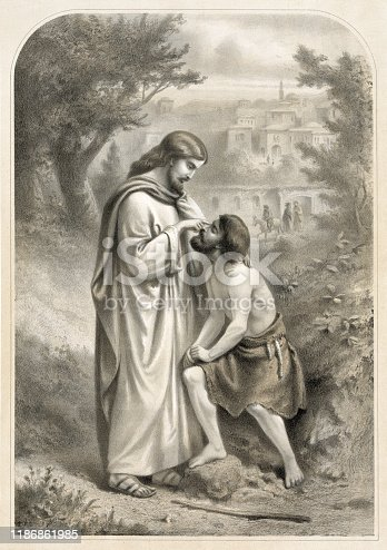 Vintage Biblical painting shows the miracle of Jesus Christ restoring the sight of a man who was born blind in the Gospel book of John.