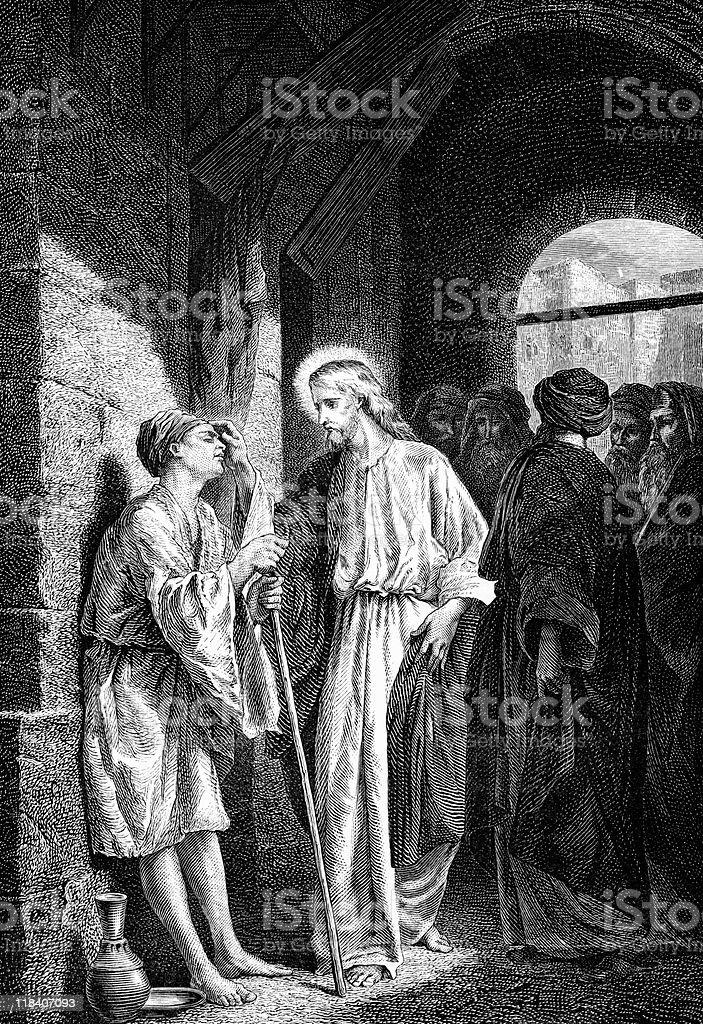 Jesus Christ Heals a Blind Man royalty-free stock vector art