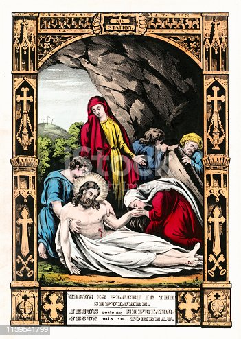 Vintage illustration depicting the fourteenth Station of the Cross where the body of Jesus Christ is prepared and buried in the tomb.