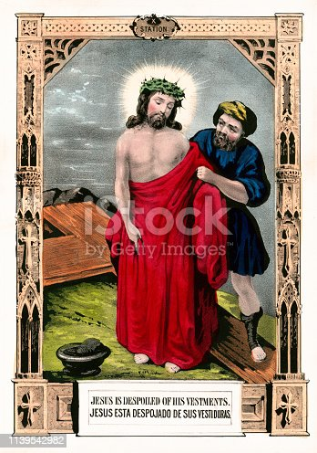 Vintage illustration depicting the tenth Station of the Cross where Jesus Christ is stripped of his garments.
