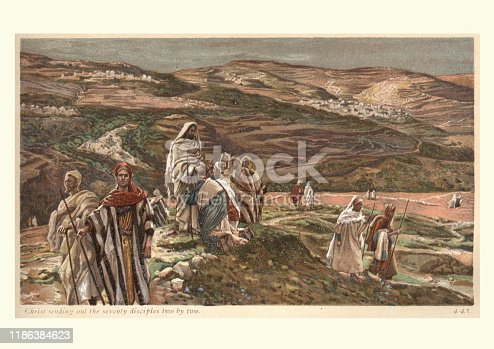 Vintage engraving of Jesus Christ sending out the seventy disciples two by two. Jesus, 19th Century. James Tissot