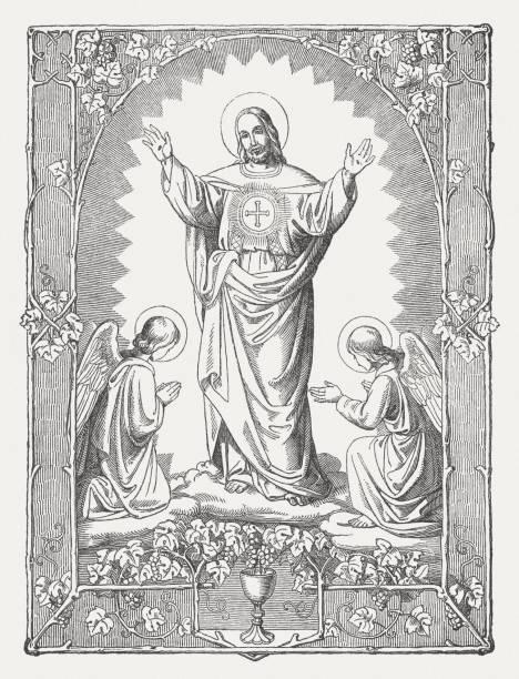 kurtarıcı i̇sa mesih, ahşap gravür, 1850 yılında yayınlandı - mimari illüstrasyonlar stock illustrations