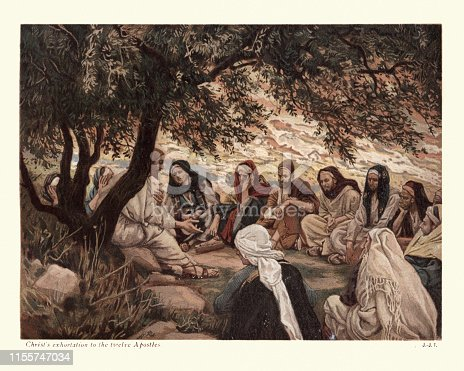 Vintage engraving of Jesus Christ's exhortation to the twelve Apostles, by James Tissot