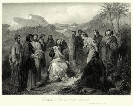 Vintage engraving of Jesus Christ's sermon on the Mount