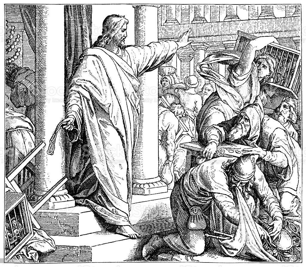 Jesus clearing the Temple (Victorian engraving) vector art illustration