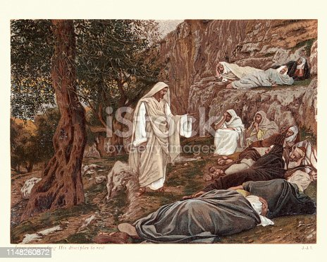 Vintage engraving of Jesus commanding his disciples to rest by James Tissot