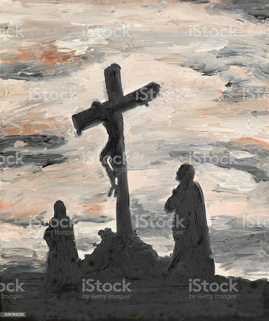 Jesus crucified on Golgotha vector art illustration