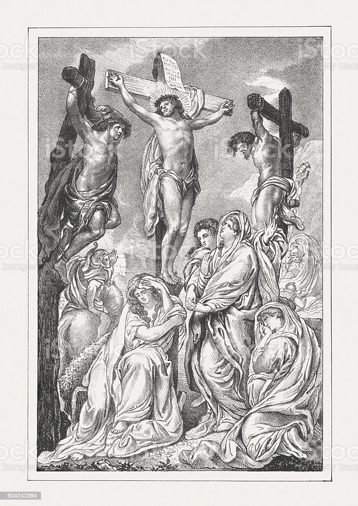 Jesus' crucifixion, lithograph, published in 1850 vector art illustration