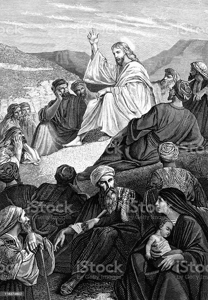 Jesus Delivers Sermon on the Mount vector art illustration