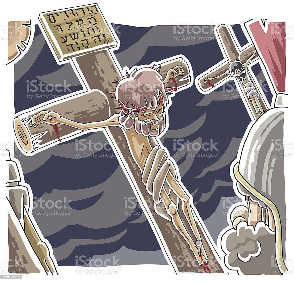 Смерть иисуса на крест - Векторная графика Jesus Christ роялти-фри