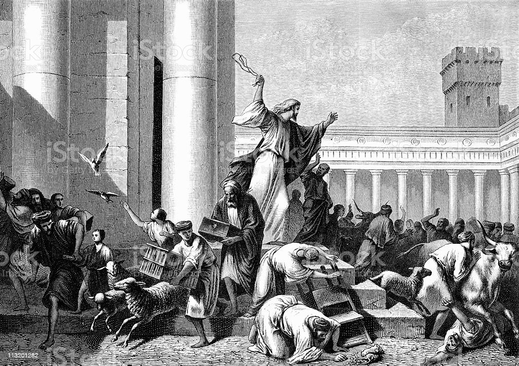 Jesus Drives Out Money Changers From the Temple vector art illustration