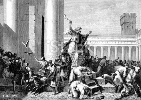 Jesus Drives Out Money Changers From The Temple Stock ...