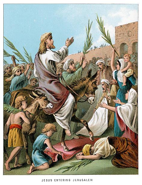 jesus entering jerusalem - palm sunday stock illustrations, clip art, cartoons, & icons