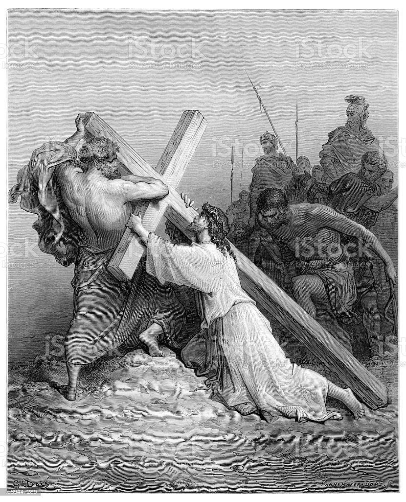 Jesus falling beneath the cross engraving 1870 vector art illustration