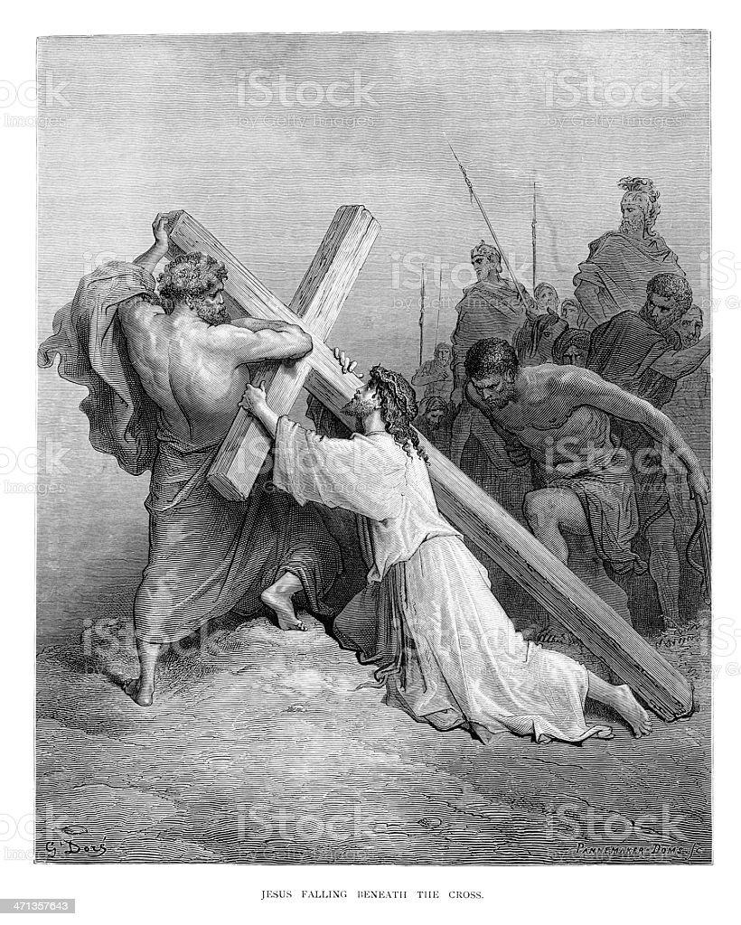 Jesus Falling Beneath the Cross vector art illustration