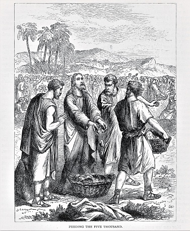 Jesus Christ blesses food before his disciples feed them. Illustration published in The Life of Christ by Louise Seymour Houghton (American Tract Society: New York) in 1890. Copyright expired; artwork is in Public Domain. Digitally restored.