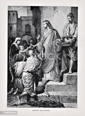 Jesus Christ feeds hungry people in the city. Illustration published in The Life of Christ by Louise Seymour Houghton (American Tract Society: New York) in 1890. Copyright expired; artwork is in Public Domain. Digitally restored.