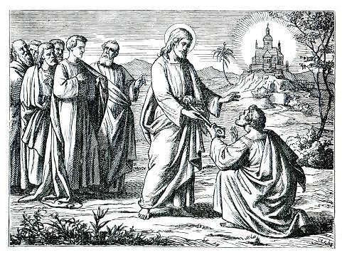 Jesus giving Peter the key of the kingdoms heaven illustration 1882