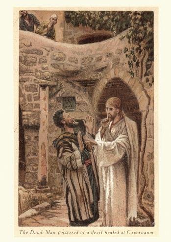 Jesus healing the dumb man possessed of a devil at Capernaum