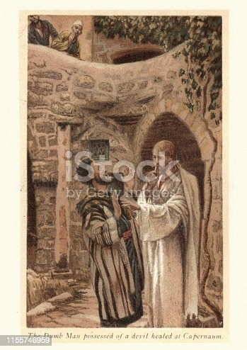 Vintage engraving of Jesus healing the dumb man possessed of a devil at Capernaum, by James Tissot