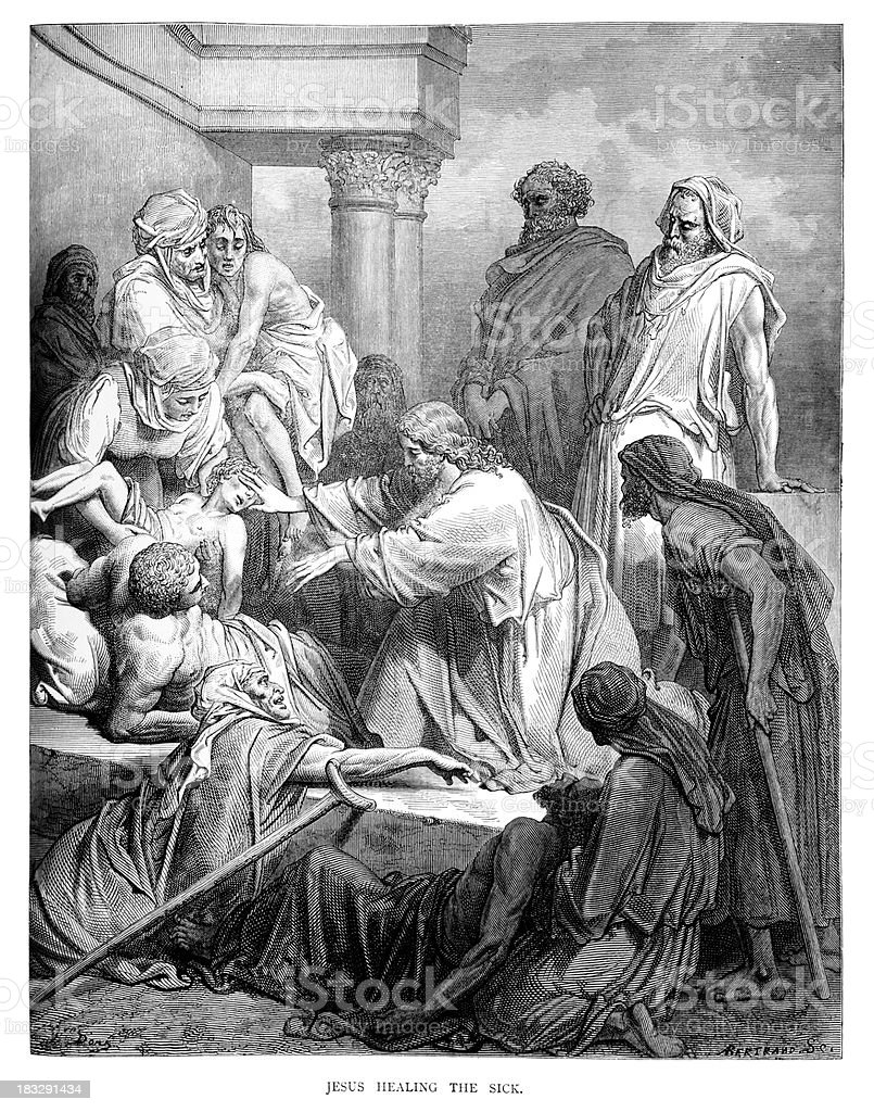 Jesus Healing the Sick royalty-free jesus healing the sick stock vector art & more images of ancient history