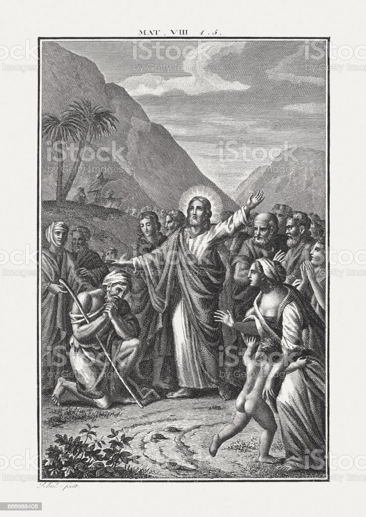 jesus heals a man with leprosy published c1850 stock vector art