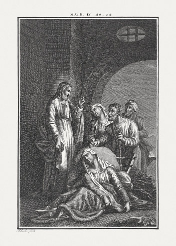 Jesus heals a woman (Matthew 9), copperplate engraving, published c.1850