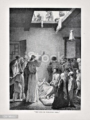 istock Jesus Heals Paralyzed Man Friends Lowered through Roof 1297985321
