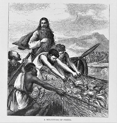 Jesus in Boat with Fishermen Disciples