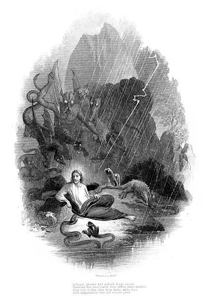 Jesus in the wilderness vector art illustration