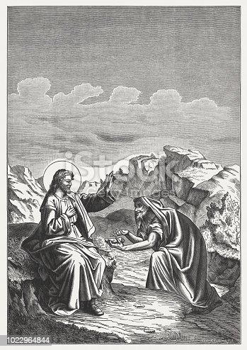 "Jesus is Tempted by Satan in the Desert: The tempter came and said to him, ""If you are the Son of God, command these stones to become bread.""But he answered, ""It is written, 'Man does not live by bread alone, but by every word that comes from the mouth of God.'"" (Mathew 4, 3-4). Wood engraving, published in 1888."