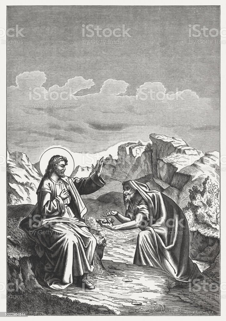 Jesus is Tempted by Satan (Mathew 4,3-4), woodcut, published 1888 vector art illustration