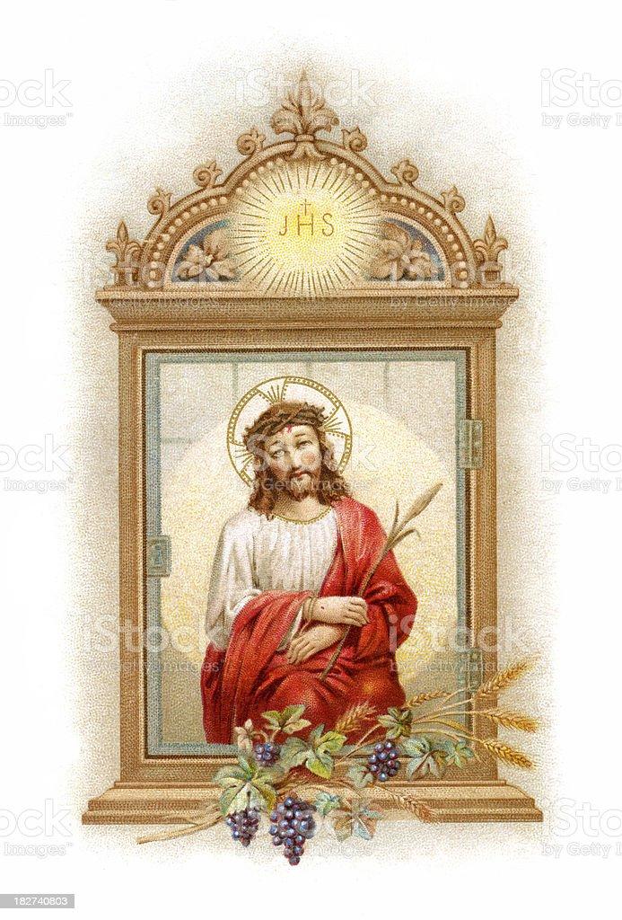 Jesus - Lithograph illustration vector art illustration