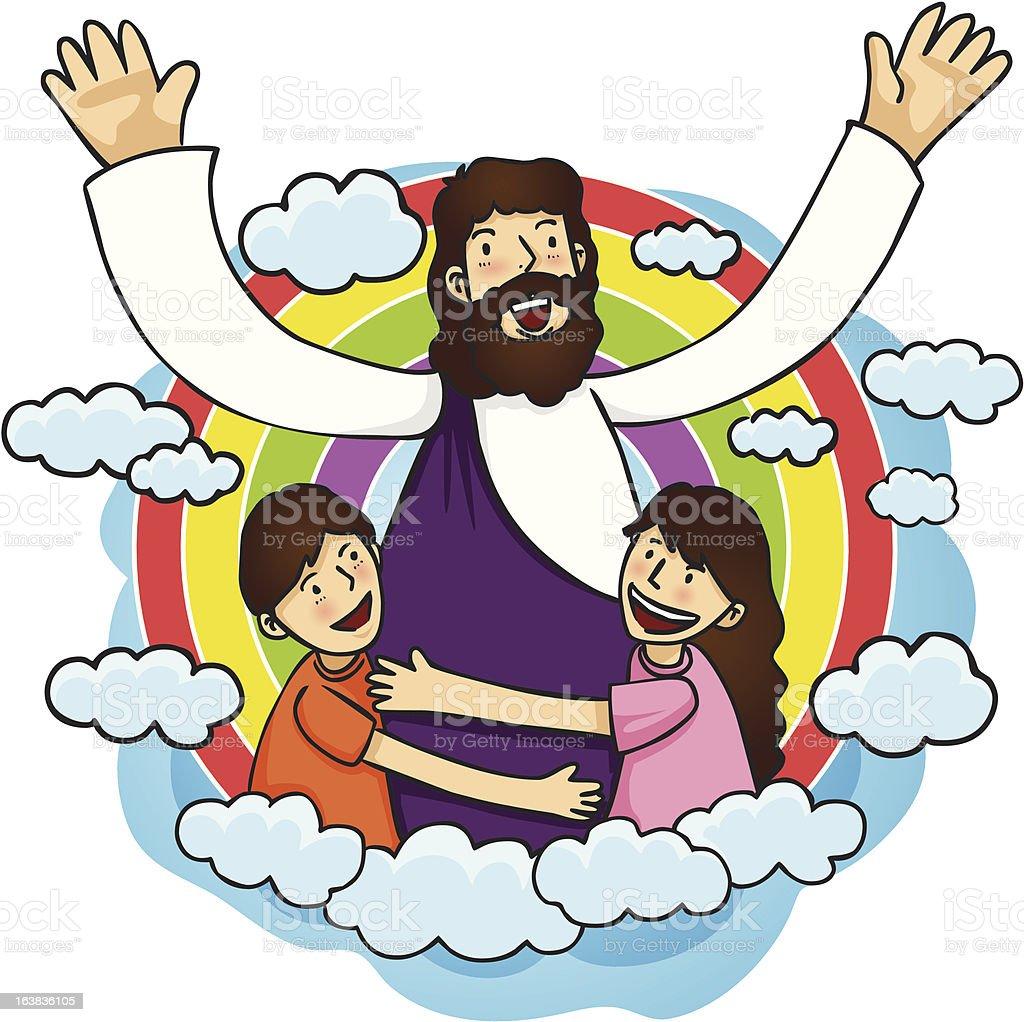 Jesus Love Children vector art illustration
