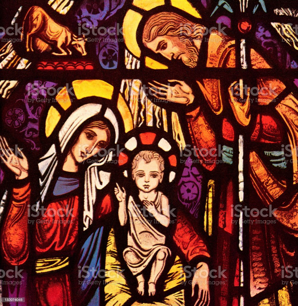 Jesus, Mary and Joseph vector art illustration
