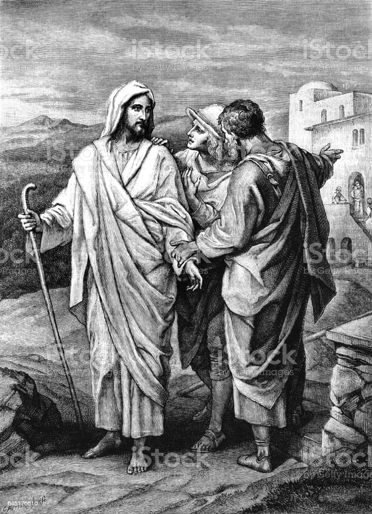 Jesus meeting two disciples at Emmaus - Victorian engraving vector art illustration